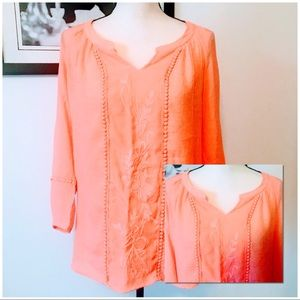 NWOT! LOVELY SALMON CHIFFON EMBROIDERED TUNIC